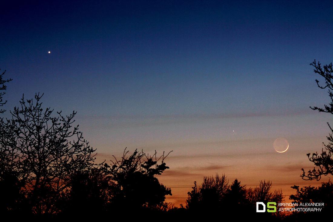 Venus, Mercury and young crescent Moon